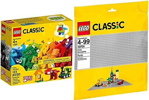 LEGO® Classic 2er Set 10701 11001 Graue Grundplatte + Bausteine Erster Bauspaß