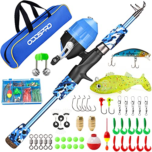 ODDSPRO Kids Fishing Pole, Portable Telescopic Fishing Rod and Reel...