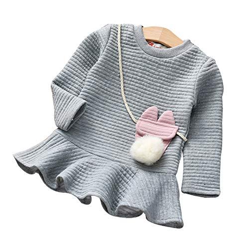 kingko Robe Fille, Bébé Filles Bonbons Couleur Long Manchon Solide Princesse Occasionnel Enfant Enfants Robe (3-4 Ans, Gris)