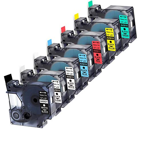 """7-Pack Replace DYMO D1 Label Tape 45010 45013 45017 45018 45019 45021 D1 Refills Compatible DYMO LabelManager 280 420P PnP 220P 360D 450 210D, 1/2"""" W x 23' L, 12mm x 7m"""
