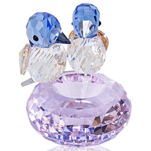 H&D HYALINE & DORA Set 2 Crystal Cut Bird of Happiness Collectible Figurines Glass Animal Figurine for Table Home Decoration