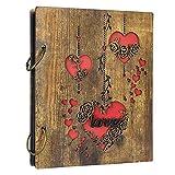 UMI Rustikal Fotoalbum 10x15 aus Holz Cover mit Herz Motiv für 120 Bilder