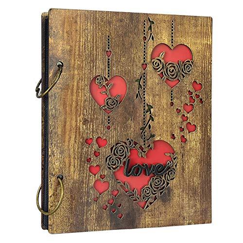Amazon Brand - Umi Rustikal Fotoalbum 10x15 aus Holz Cover mit Herz Motiv für 120 Bilder