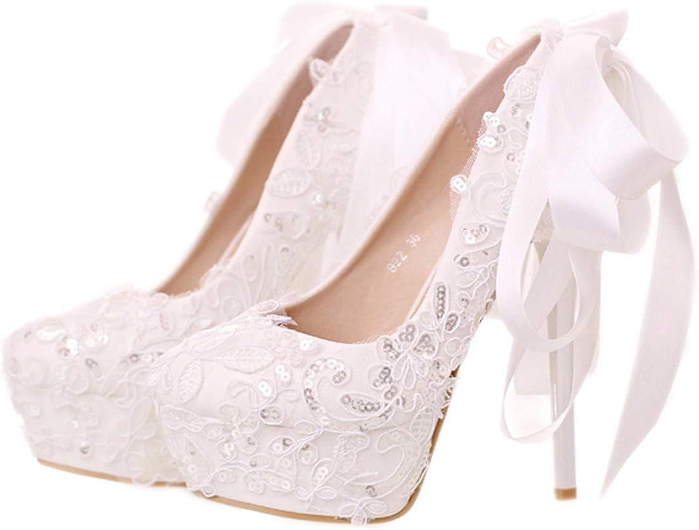 GTVERNH Damenschuhe Weie Spitze Pailletten Braut Schuhe Runde Flache Mund Schne Hochzeit Schuhe Fliege High - Heel Single - Schuh.