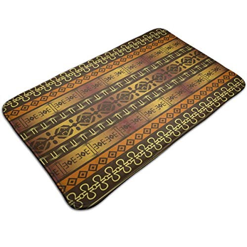 AoLismini Plush Bath Mat, Indigenous Geometric Motifs wh Ethnic Ornament Tradional Tribal Bathroom Rug wh Non Slip Backing