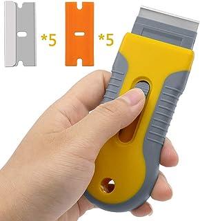 スクレーパー ガラススクレーパー 霜取りスクレーパー 汚れ落とし 塗装/ステッカー/シール/ラベル/接着剤剥がしスクレーパー 替刃付10個 プラスチックブレード×5、ステンレスブレード×5、ブレード 付属