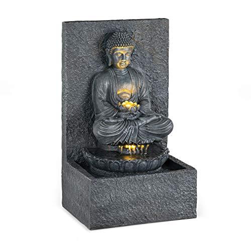 blumfeldt Nirvana - Gartenbrunnen, Zierbrunnen, Dekobrunnen, LED-Beleuchtung, 36 x 65 x 29 cm (BxHxT), Material: Polyresin, für drinnen und draußen, Stromkabel: ca. 5 m, grau