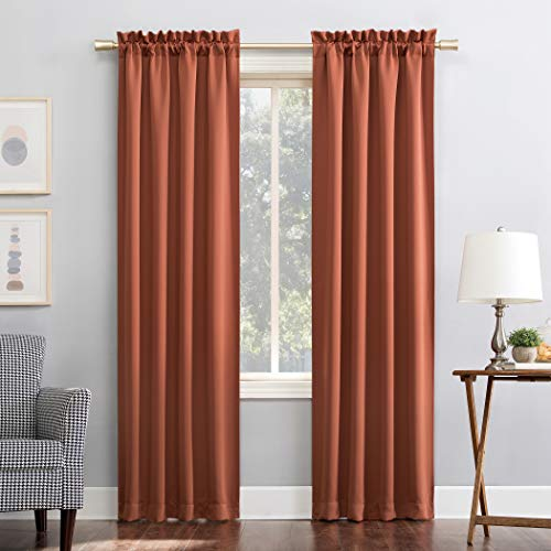 "Sun Zero Easton Energy Saving Blackout Rod Pocket Curtain Panel, 40"" x 63"", Terracotta"