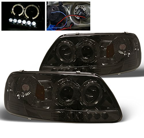 Aftermarket Replacement LED Halo Headlights for Ford F150 97-03 - Chrome / Smoked Lens