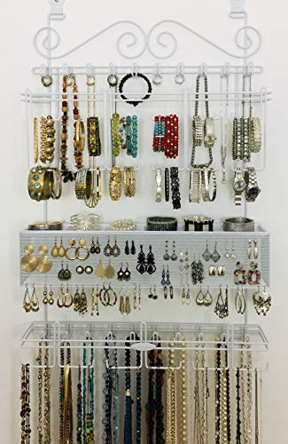 Longstem Organizers OverDoor or Wall Jewelry Organizer #5100 in White Patented Product