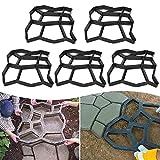 Aufun Molde de hormigón para jardín, 9 cámaras, para encofrado, para pavimentos, losas de terraza, pavimentos, (43 x 43 x 4 cm, 5 unidades)