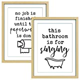 ArtbyHannah 12x16 Inch Framed Funny Bathroom Wall Art Decor,with Funny Signs and Saying Art Prints Artwork,Modern Minimalist Log Gallery Wall Kit Picture Photo Frame Set for Laundry Room Restroom or Home Decoration(2 Pack)