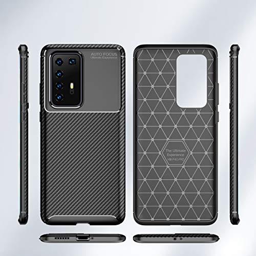 MISKQ Hülle für Huawei P40 Pro, Stoßfest Handyhülle Schutzhülle Shock Absorption Cover Ultra Schlank Softschale Silikon TPU (Brown) - 7