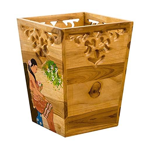 Cubo de basura de 12 litros con decoración suave, tubo largo sin tapa, papeleras pintadas, caja de almacenamiento de teca creativa, dormitorio, sala de estar, 16 x 22 x 30 cm