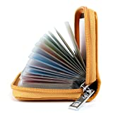 Tarjeteros Mujer Piel Tarjeteros para Tarjetas de Credito Cuero (Amarillo)