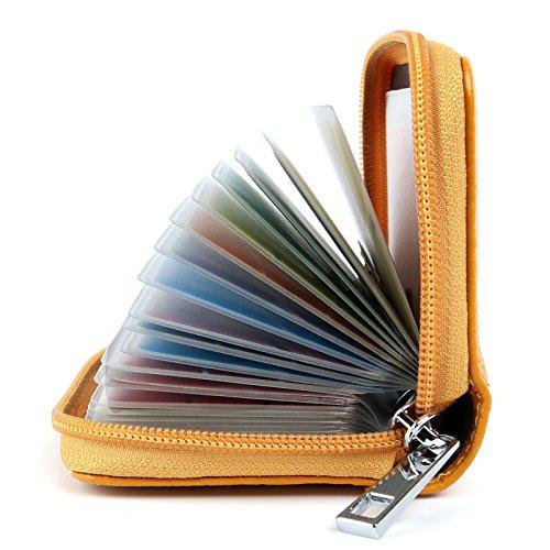 AirZyx Kreditkartenetui Damen Herren Leder RFID Schutz Reißverschluss (Gelb)