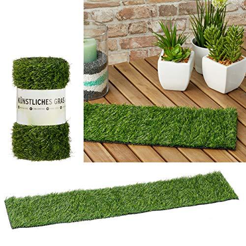 CEPEWA GmbH Kunstrasen Deko künstlicher Rasen Rollrasen auf Rolle Osterdekoration Tischläufer 80 x 20 x 2,5 cm grün