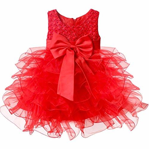 iiniim Robe de Cérémonie Enfant Fille Grande Noeud Papillion Robe sans Manches Princesse Robe Fleur des Enfants pour Baptême Anniversaire 3-24 Mois Rouge 12-18 Mois