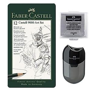 Faber-Castell Castell 9000 – Juego de lápices (12 unidades, incluye sacapuntas y sacapuntas para amasar)