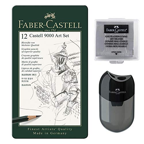 Faber-Castell Bleistift Castell 9000 12er Art Set | inkl. Anspitzer + Knetradierer