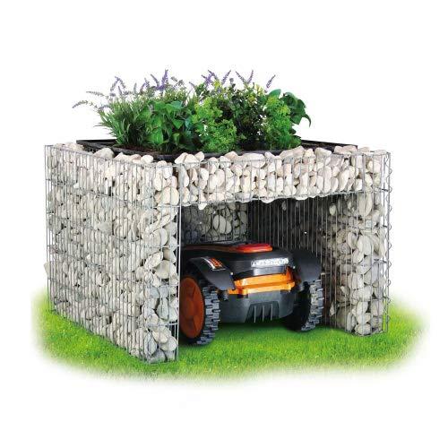 bellissa Große Gabionen Mähroboter-Garage - 97296 - Bepflanzbare Rasenmäher-Garage mit Pflanzschale - 85x95x53 cm