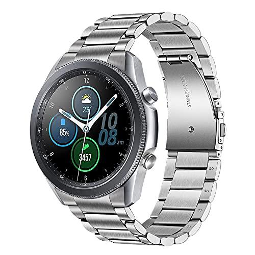 TRUMiRR Pulsera no compatible con Galaxy Watch 3 de 45 mm, clip sólido de acero inoxidable y metal, correa de repuesto para Samsung Galaxy Watch3 de 45 mm