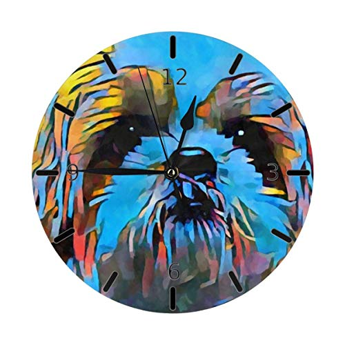 Shih Tzu Dog Cute Neon Art Painting Mini temática Patrón Impreso Diseño Reloj de Pared Sala de Estar Comedor Dormitorio Escritorio en el hogar Sin...