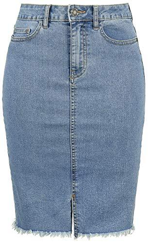 Noisy May Nmbe Lexi HW MB Pencil Skirt Noos Gonna, Blu (Medium Blue Denim Medium Blue Denim), Donna