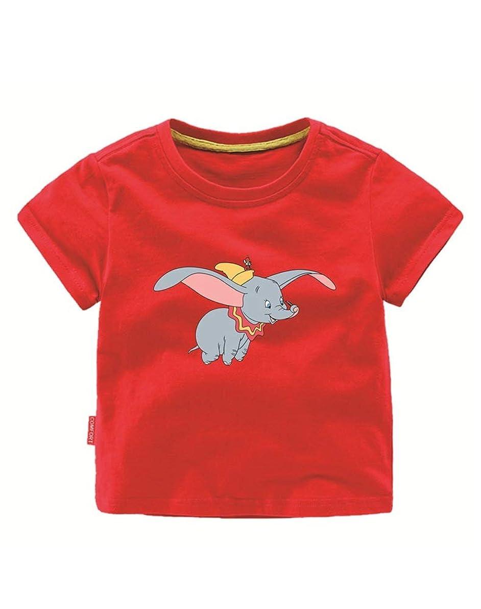 染料ジム抵抗力があるLATLONG 男の子 ダンボ 服 半袖Tシャツ Dumbo ベビー 服 夏 半袖 194(120cm,レッド)