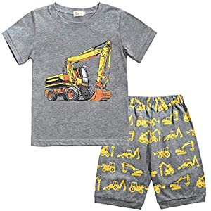 Toddler Boys Pajamas Monster Truck Cotton Kids Dinosaur Pjs 2 Piece Short Sets Summer Sleepwear Clothes Set 2-7 Years