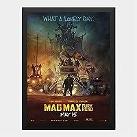 ハンギングペインティング - マッドマックス MADMAX 2015 怒りのデスロードのポスター 黒フォトフレーム、ファッション絵画、壁飾り、家族壁画装飾 サイズ:33x24cm(額縁を送る)