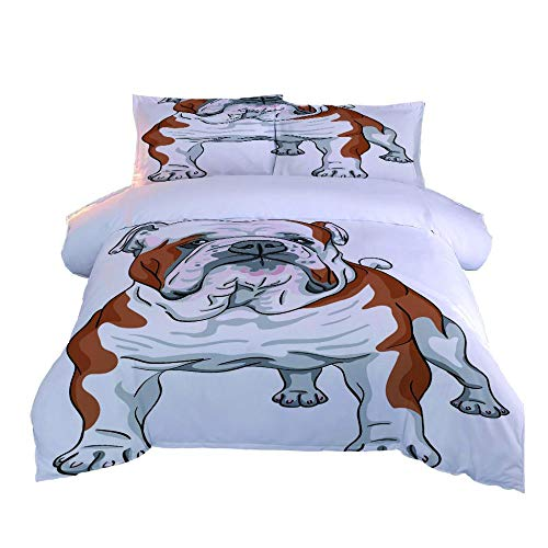 DJDSBJ Duvet Cover Set in Single Size 135x200cm,Bedding,Brushed Microfibre with zipper closure includes 2 pillowcases.Style:Bulldog