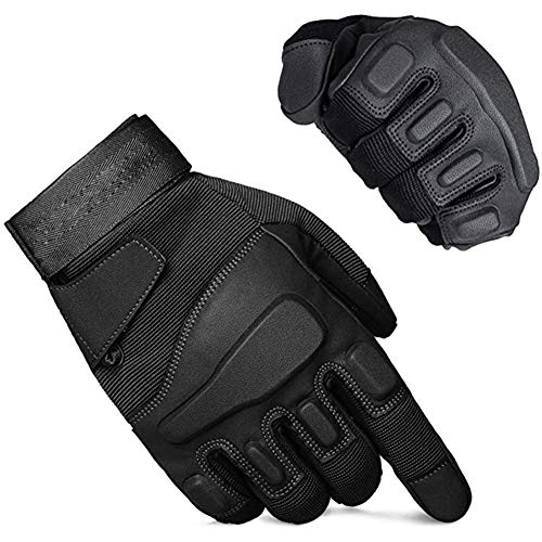 YFGRD Men's Full Finger Gloves Windproof Gloves, Used for Cycling Hiking Climbing Motorcycles Mountain Bike Gloves Outdoor Sports,Black,L
