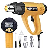 Heat Gun, Mowis 1800W Hot Air Gun Kit with Large Digital LCD Display Variable Temperature (120°F-1100°F) Memory Settings and 7 Pcs Nozzle Attachments