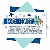 25 Books For Baby Shower Request Cards - Woodland Baby Shower Invitation Inserts, Book Request Baby Shower Guest Book Alternative, Bring A Book Instead Of A Card, Baby Shower Book Request For Boys