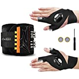 Calmsen Magnetic Wristband with 1 Pair LED Flashlight Gloves - 15 Strong Magnets Tool Belt for Holding Screws/Nails/Drill Bits, Cool Gift/Gadgets for Men/Father/Dad/DIY Handyman/Husband/Boyfriend