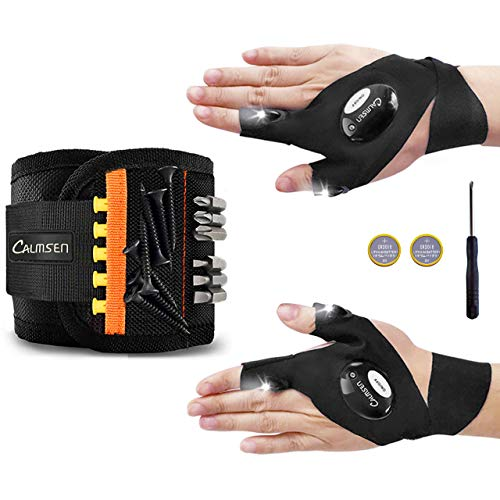 Calmsen Magnetic Wristband with 1 Pair LED Flashlight Gloves - Gadgets for Men/Dad 15 Strong Magnets Tool Belt for Holding, Cool gifts for dads who have everything/Dad/DIY Handyman/Husband/Boyfriend