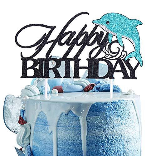 Artczlay Happy Birthday Cake Topper Blue Black Glitter Dolphin Marine Theme Boy Girl Child Birthday Party Cake Decoration (black blue)