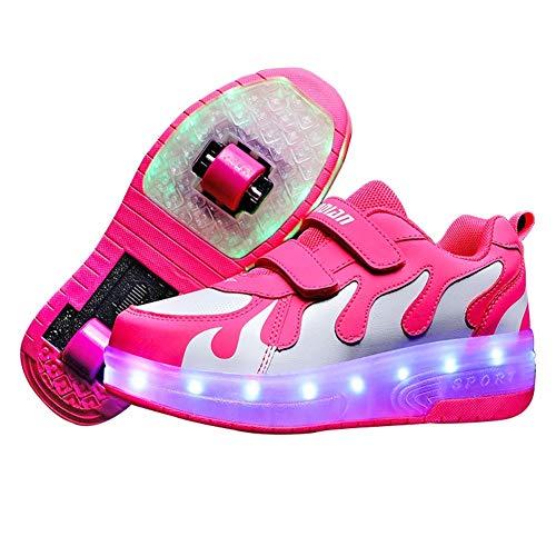 LWWOZL Zapatillas Niña con Ruedas, Zapatos con Dos Ruedas Automática Calzado de Skateboarding, Deportes de Exterior Patines en Línea Aire LibreWhite-35