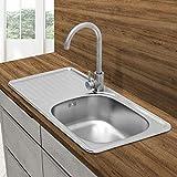 ECD Germany Fregadero de cocina 76 x 42,5 cm con juego de desagüe - lavabo a la derecha con sifón - soporte a la izquierda - acero inoxidable - pila lavadero platos manual empotrado con rebosadero