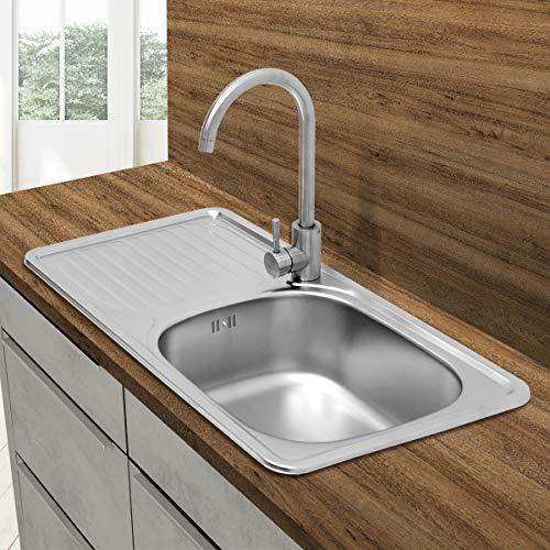 avis lave vaisselle encastrable rapport professionnel ECD Germany Évier de cuisine en acier inoxydable 1 Lave-vaisselle Sèche-linge Évier intégré – Acier inoxydable -…