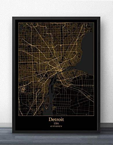 Leinwand Bild,Usa Detroit Stadtplan Einfache Wandkunst Schwarz Golden Poster Poster Minimalistische Malerei Modular Living Office Personalisierte Kultur Tinte Raumdekoration, 50 Cm X 70 Cm / 19,6 * 2