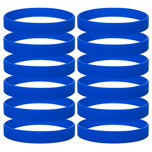 Gogo 12 Piezas de Pulseras de Goma para Adultos, Pulseras de Silicona, Accesorios de Fiesta, Brazalete Elastica de Multicolor - Azul Marino