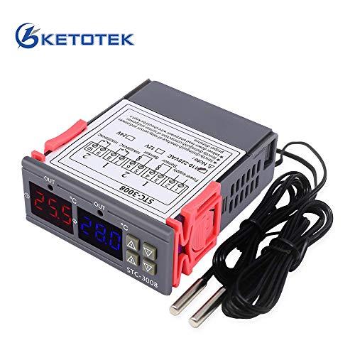 KETOTEK Digitaler Temperaturregler 230V 220V Thermostat STC-3008 Doppel Relais mit 2 Fühler Heizung Kühlung Temperaturgesteuerte