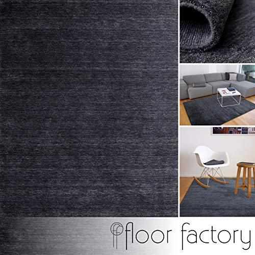 floor factory Gabbeh Teppich Karma anthrazit grau 120x170 cm - handgefertigt aus 100% Schurwolle