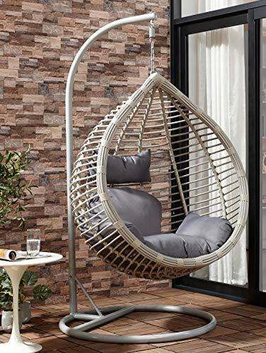 Chair Hanging Rattan Swing Patio Garden Weave Egg with Cushion in or Outdoor (Large, Dark Grey with Grey Cushion)
