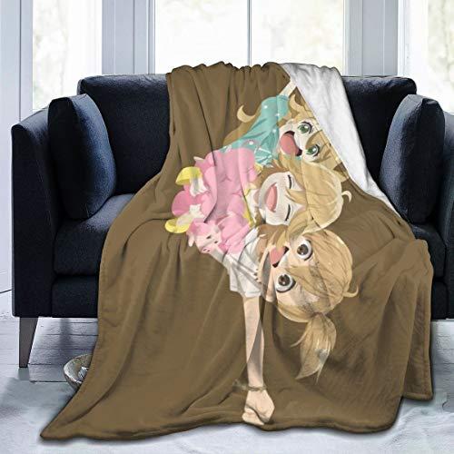 FASHIONDIY Tsumugi Poco Naru Ultra Weiche Fleecedecke Kuschelig Warm Plüsch Überwurf Decke Sofa Bett Couch, Schwarz , 60