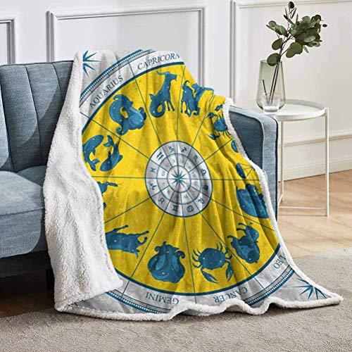 YUAZHOQI Manta de astrología para sofá, moderna y original carta del zodiaco natal con símbolos coloridos diseño esotérico, escaleras para la sala de estar de 152 x 203 cm, amarillo azul