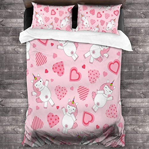 Royal Legacy Pink Unicorn 3 Piece Bedding Cover Set Bedding Cover with 2 Pillow Cases Shams with Zipper Closure for Kids Teen Boys Girls