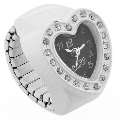 skyllc 20mm Herz Form Ringuhr Fingeruhr Finger Uhr Strass Weiß Trend